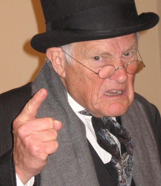 Old man reprimanding