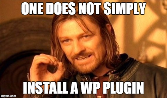 One does not simply install a wordpress plugin